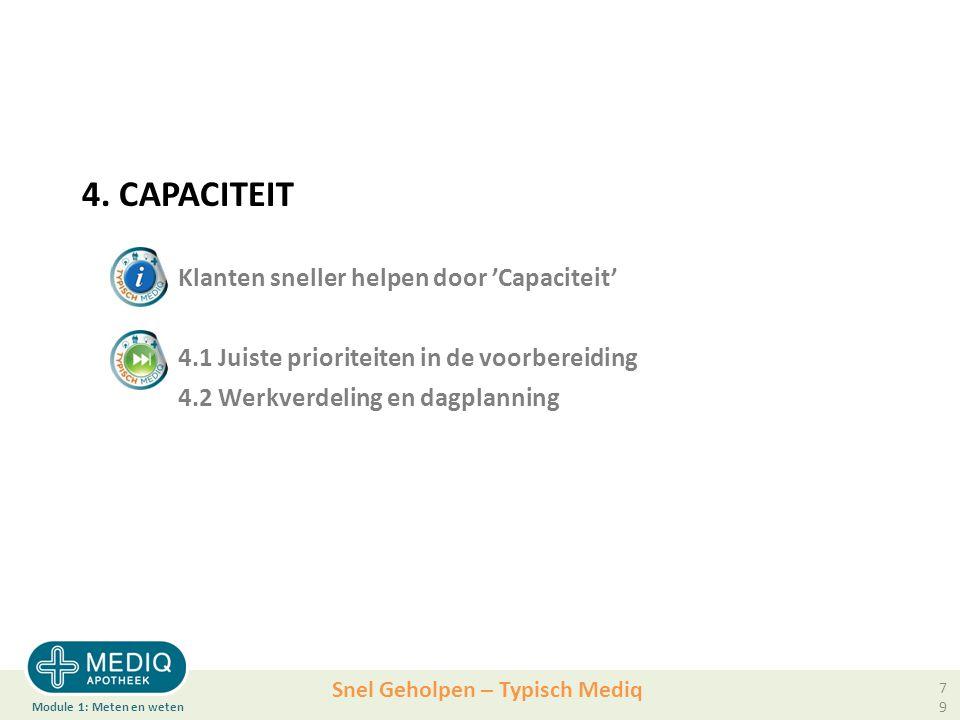 4. CAPACITEIT. Klanten sneller helpen door 'Capaciteit'. 4