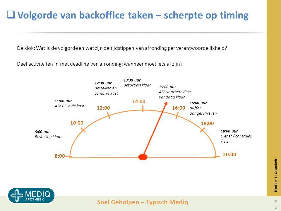 Volgorde van backoffice taken – scherpte op timing
