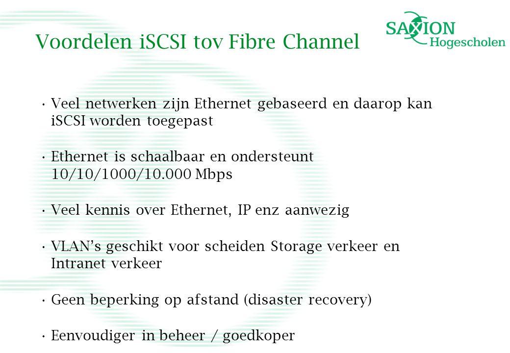 Voordelen iSCSI tov Fibre Channel