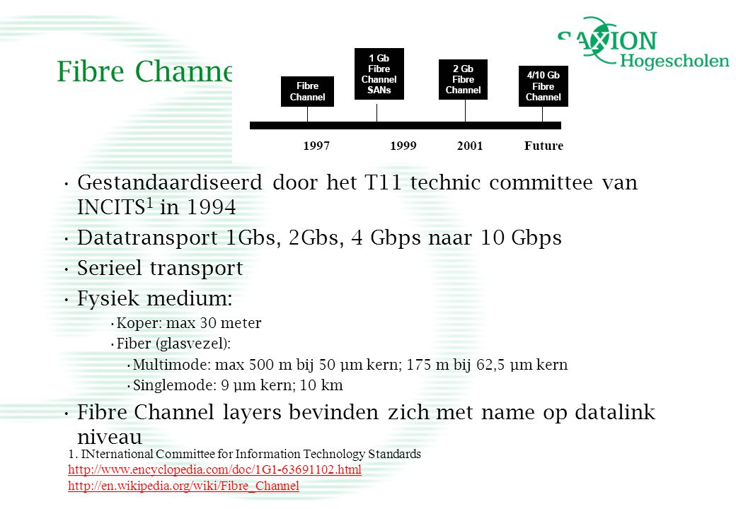 Fibre Channel Gestandaardiseerd door het T11 technic committee van INCITS1 in 1994. Datatransport 1Gbs, 2Gbs, 4 Gbps naar 10 Gbps.