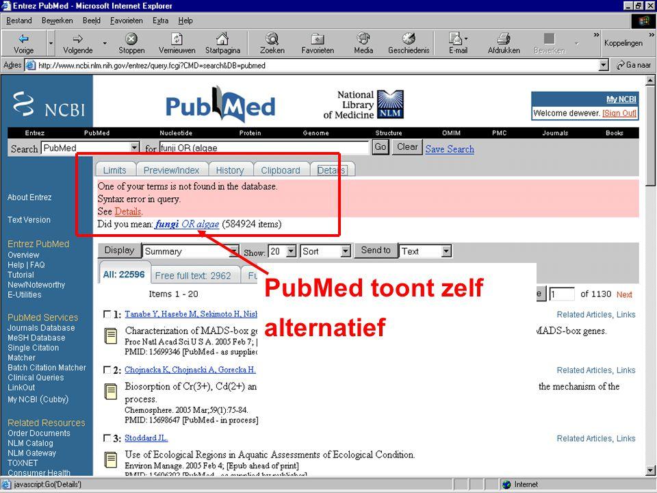 PubMed toont zelf alternatief