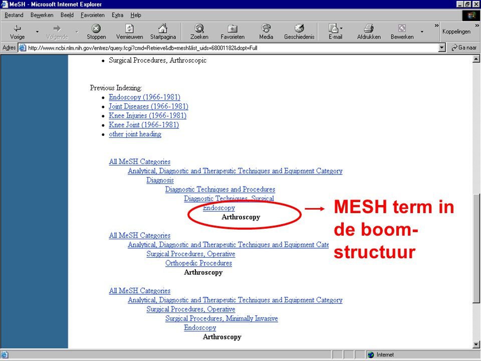MESH term in de boom-structuur