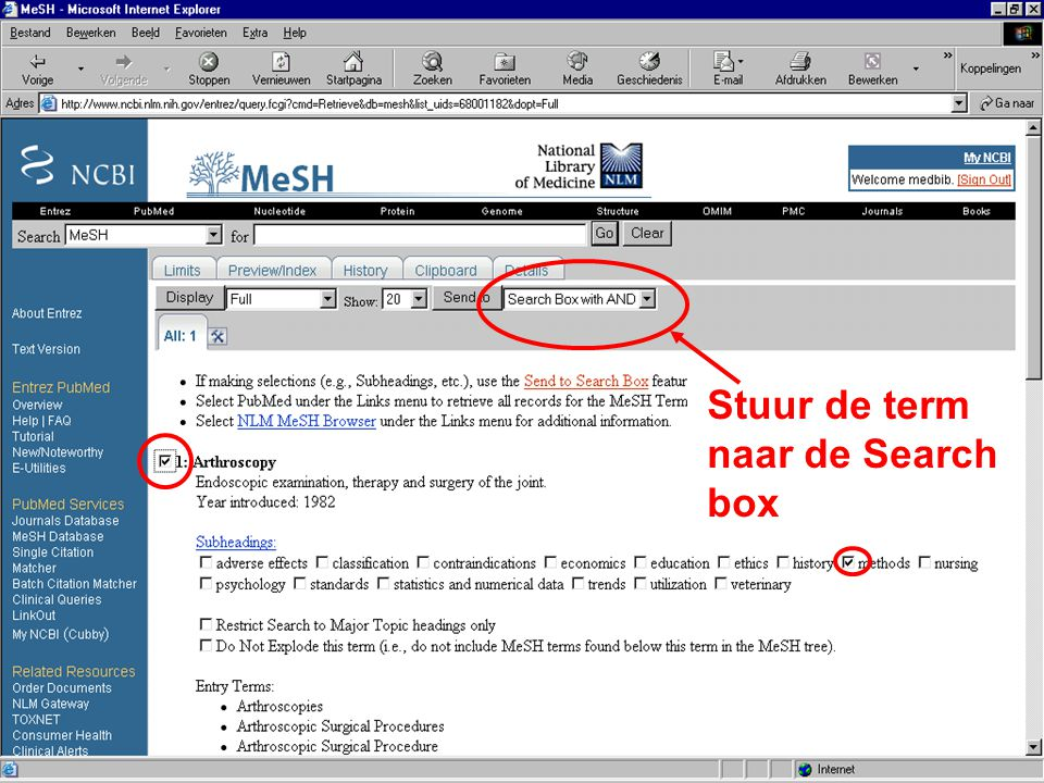 Stuur de term naar de Search box