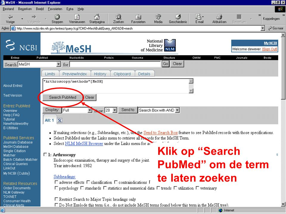 Klik op Search PubMed om de term te laten zoeken