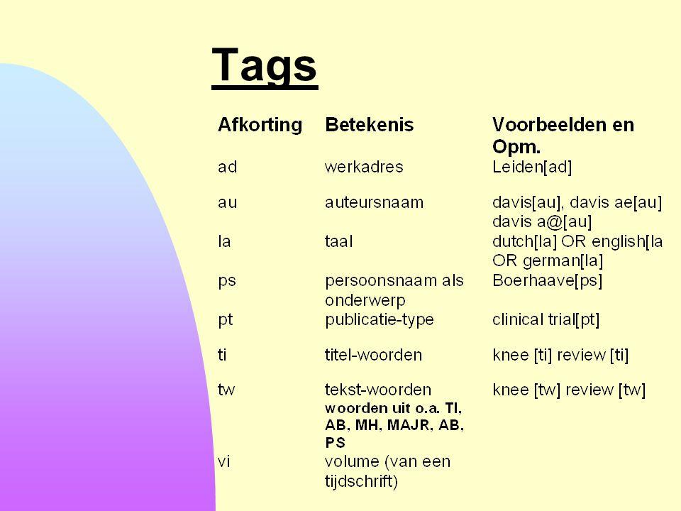 Tags 6-4-2017 Let op: Bij gebruik van titelwoorden en tekstwoorden: