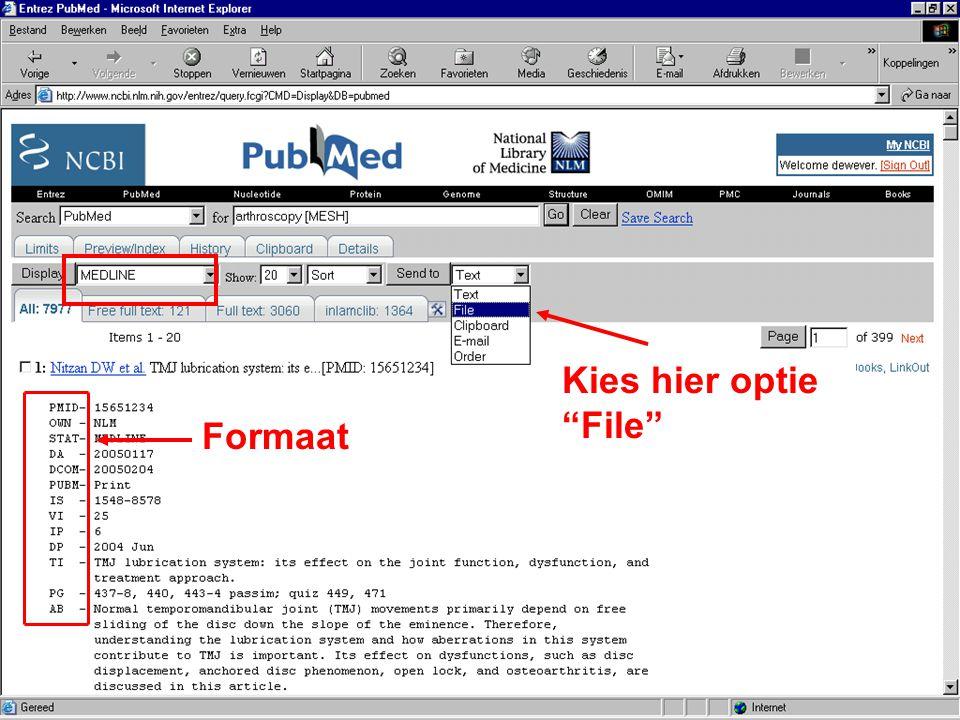 Kies hier optie File Formaat