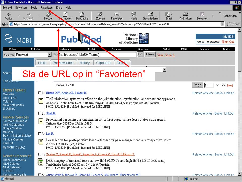 Sla de URL op in Favorieten