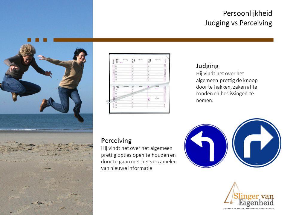 Persoonlijkheid Judging vs Perceiving Judging Perceiving