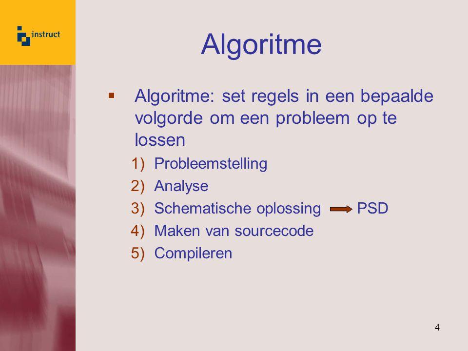 Algoritme Algoritme: set regels in een bepaalde volgorde om een probleem op te lossen. Probleemstelling.