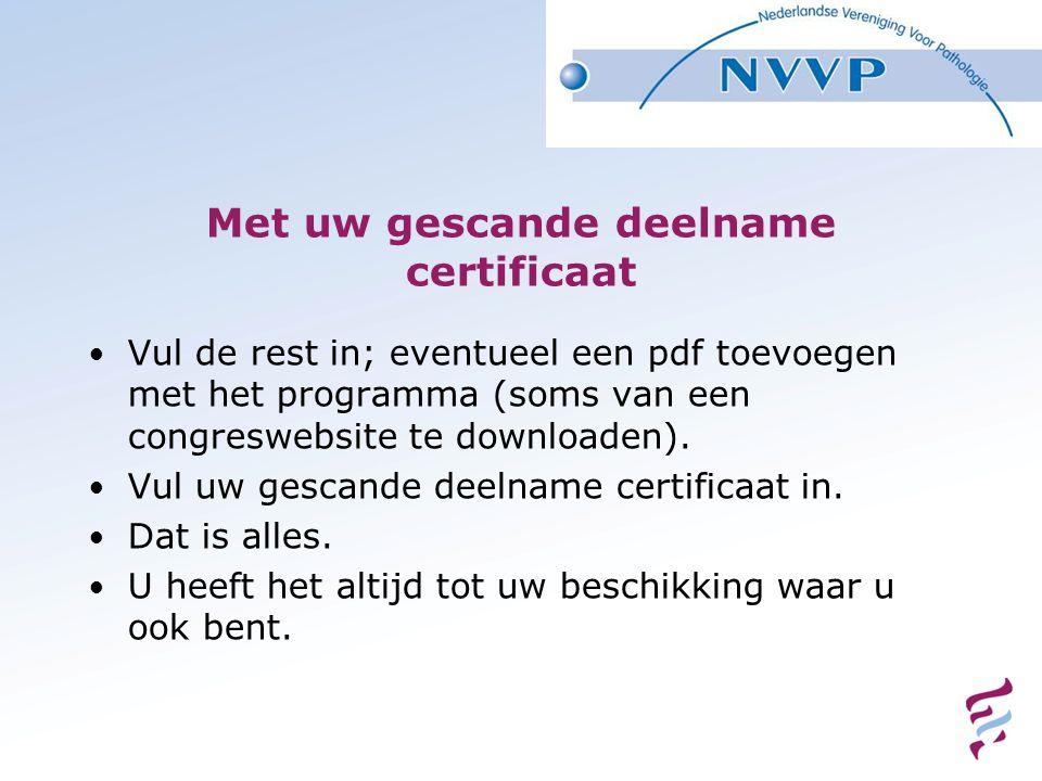 Met uw gescande deelname certificaat