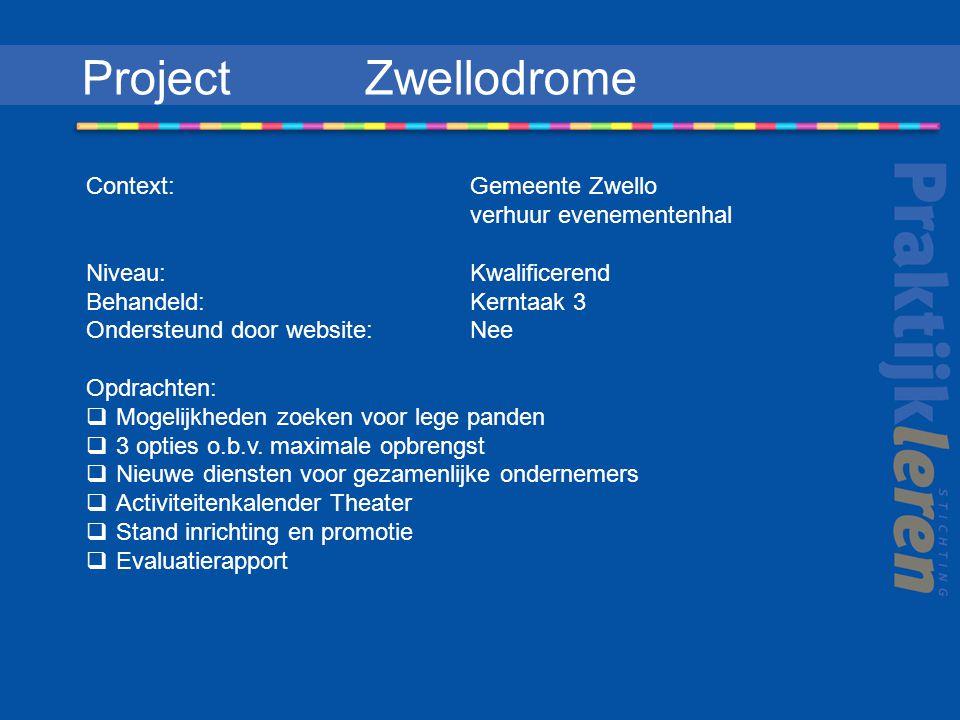 Project Zwellodrome Context: Gemeente Zwello verhuur evenementenhal