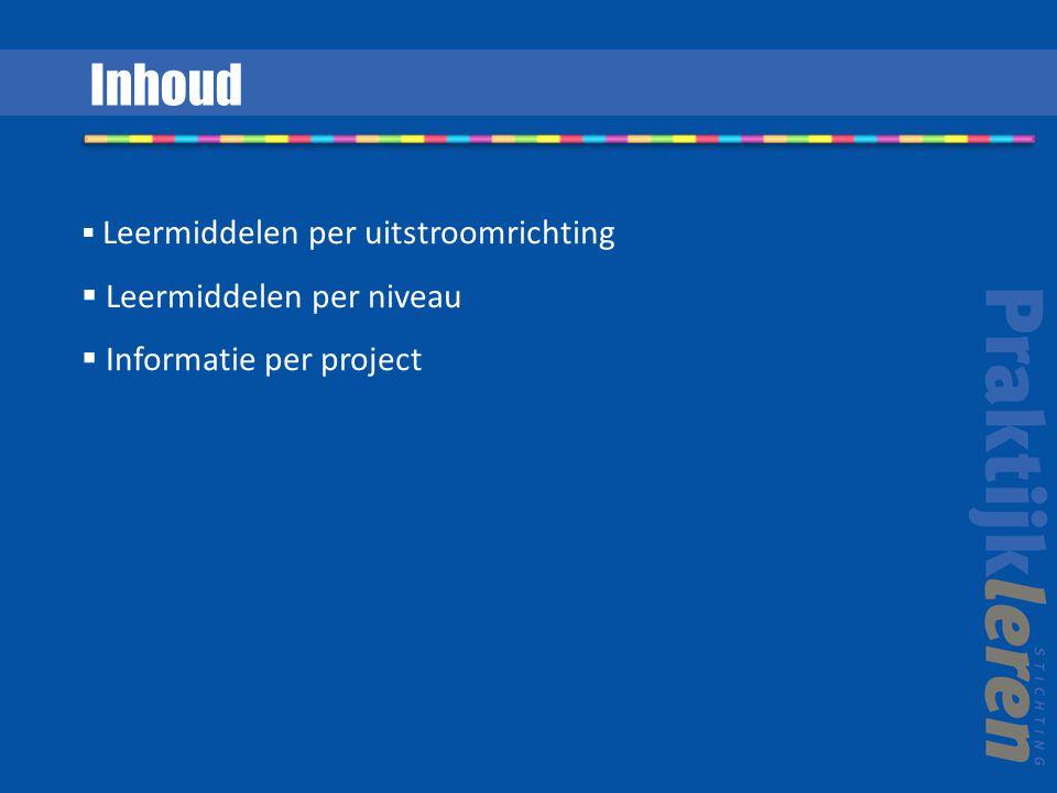 Inhoud Leermiddelen per niveau Informatie per project