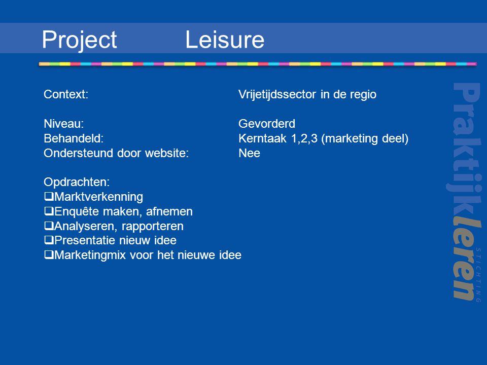 Project Leisure Context: Vrijetijdssector in de regio