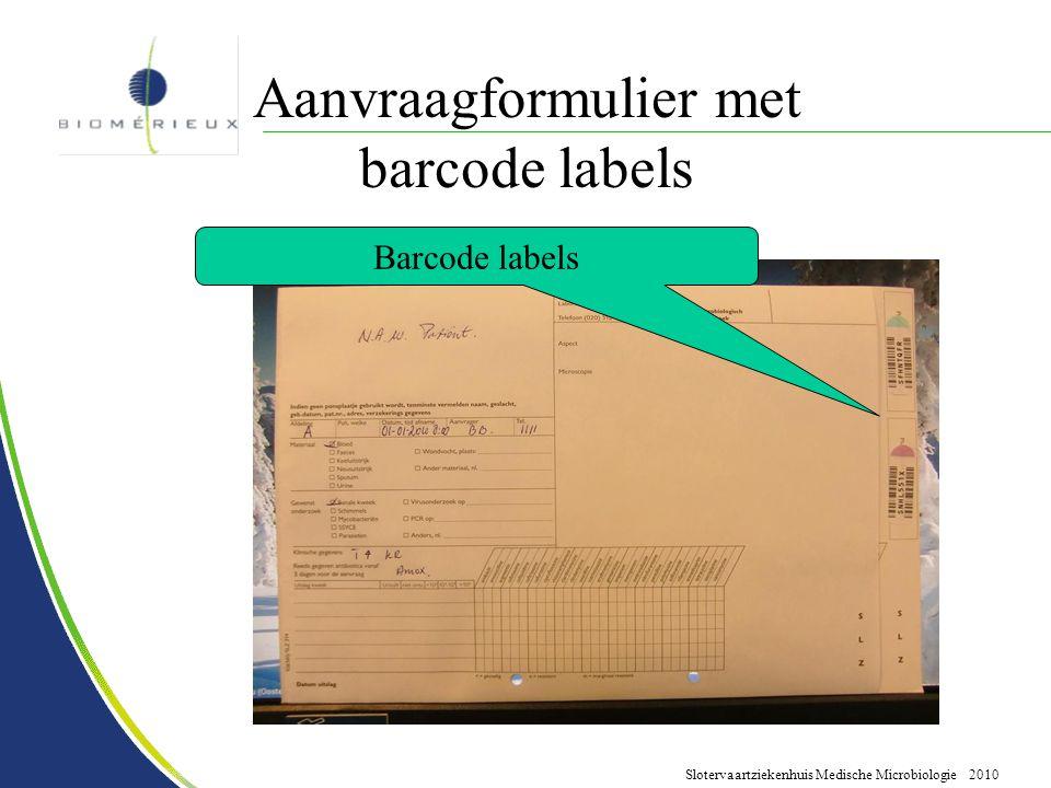 Aanvraagformulier met barcode labels