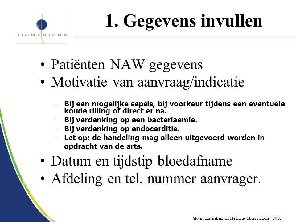 1. Gegevens invullen Patiënten NAW gegevens