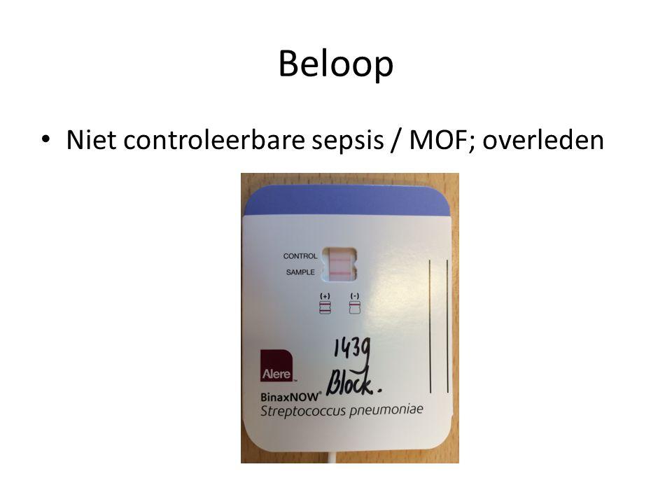 Beloop Niet controleerbare sepsis / MOF; overleden