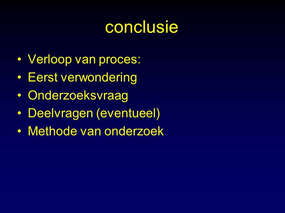 conclusie Verloop van proces: Eerst verwondering Onderzoeksvraag
