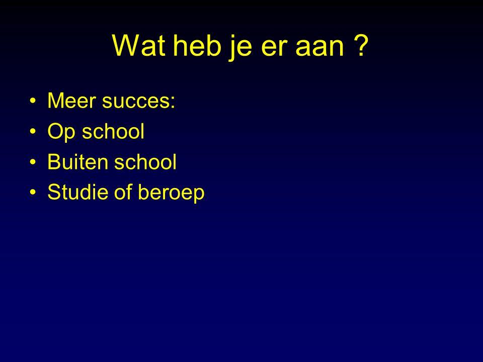 Wat heb je er aan Meer succes: Op school Buiten school