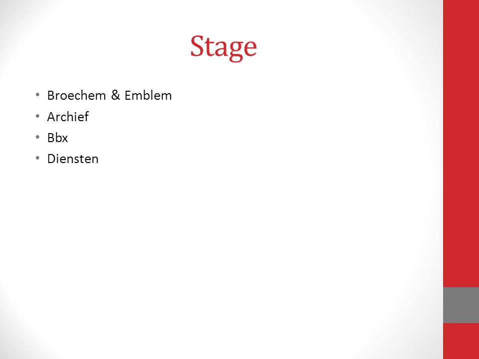 Stage Broechem & Emblem Archief Bbx Diensten