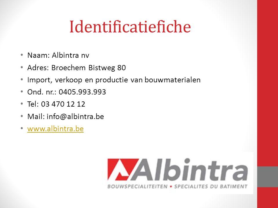 Identificatiefiche Naam: Albintra nv Adres: Broechem Bistweg 80