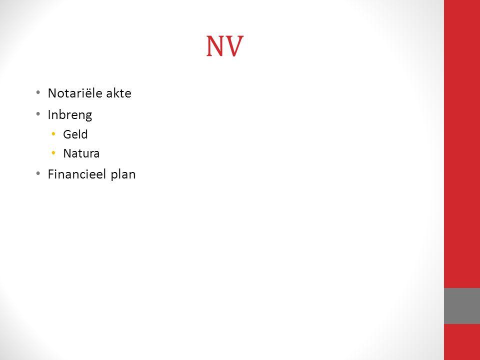 NV Notariële akte Inbreng Geld Natura Financieel plan