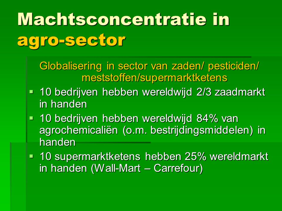 Machtsconcentratie in agro-sector