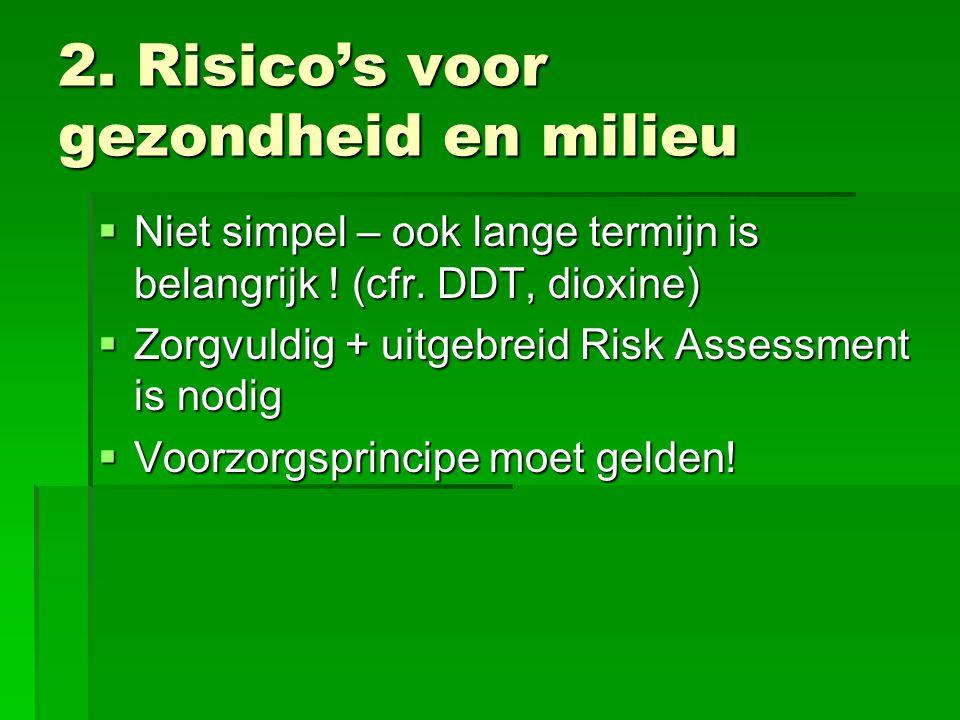 2. Risico's voor gezondheid en milieu