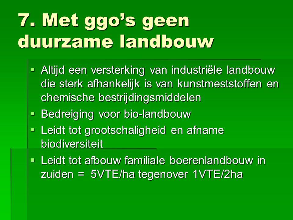 7. Met ggo's geen duurzame landbouw