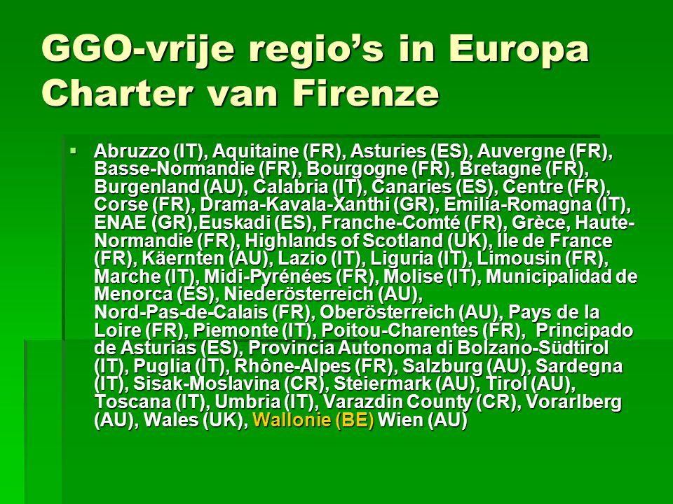 GGO-vrije regio's in Europa Charter van Firenze