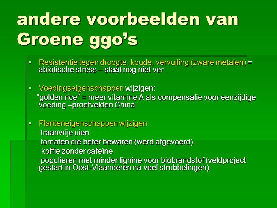 andere voorbeelden van Groene ggo's