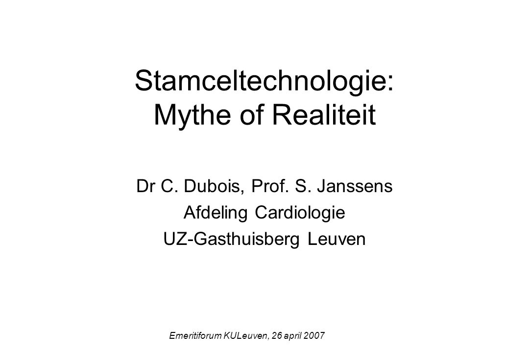 Stamceltechnologie: Mythe of Realiteit