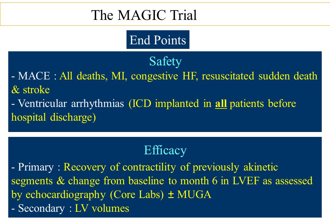 The MAGIC Trial End Points Safety Efficacy