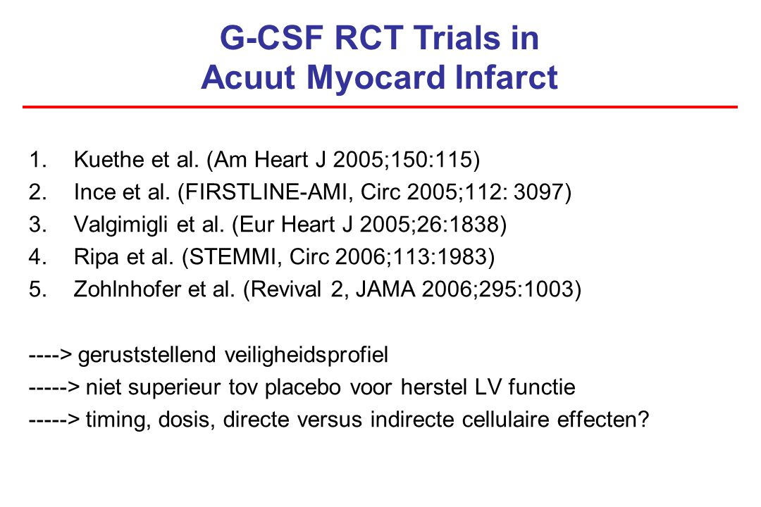 G-CSF RCT Trials in Acuut Myocard Infarct