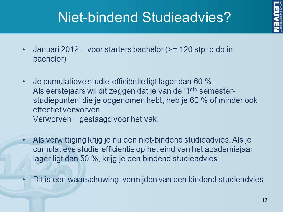 Niet-bindend Studieadvies
