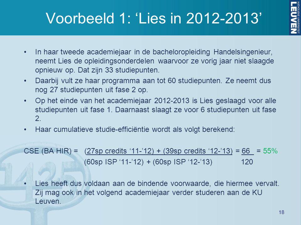 Voorbeeld 1: 'Lies in 2012-2013'