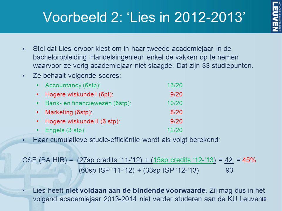 Voorbeeld 2: 'Lies in 2012-2013'
