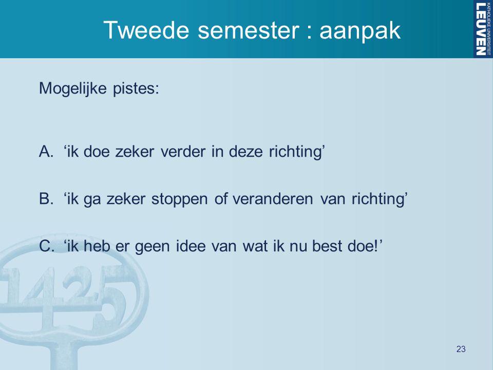 Tweede semester : aanpak