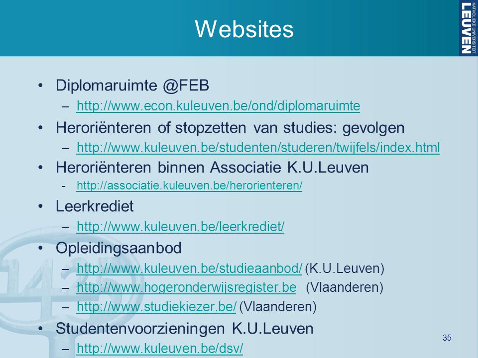Websites Diplomaruimte @FEB