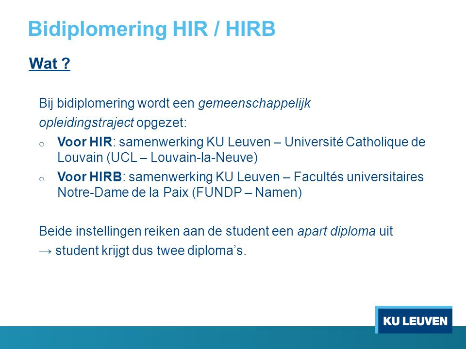 Bidiplomering HIR / HIRB
