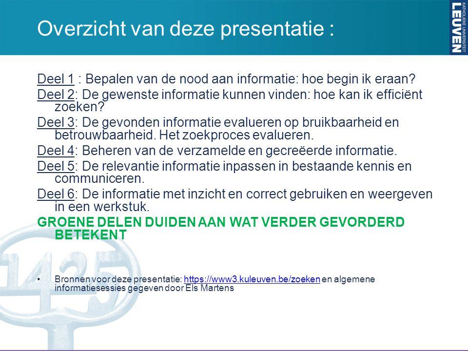 Overzicht van deze presentatie :