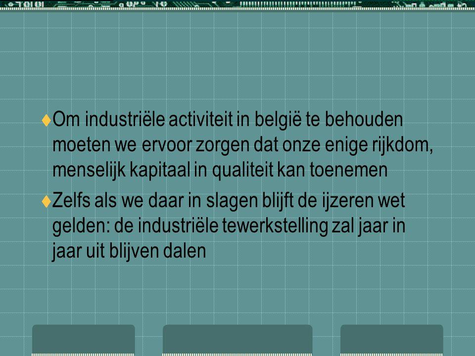 Om industriële activiteit in belgië te behouden moeten we ervoor zorgen dat onze enige rijkdom, menselijk kapitaal in qualiteit kan toenemen