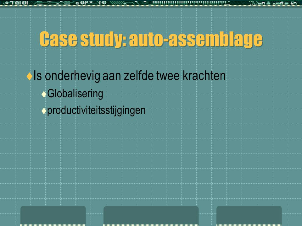 Case study: auto-assemblage