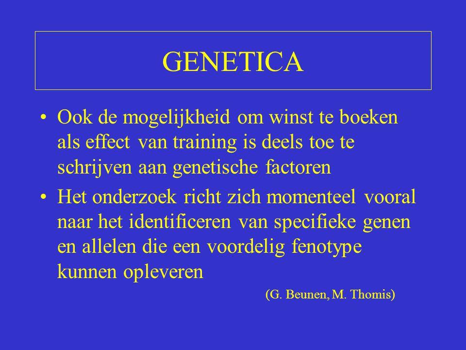 GENETICA Ook de mogelijkheid om winst te boeken als effect van training is deels toe te schrijven aan genetische factoren.