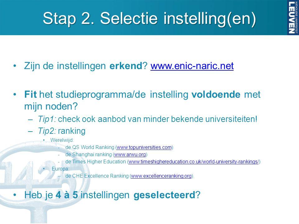 Stap 2. Selectie instelling(en)