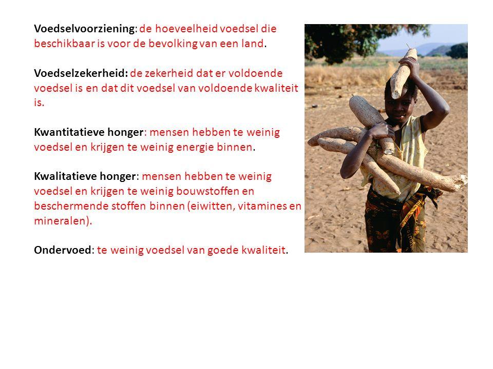 Voedselvoorziening: de hoeveelheid voedsel die beschikbaar is voor de bevolking van een land.