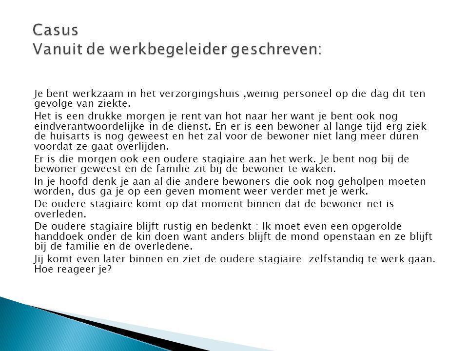 Casus Vanuit de werkbegeleider geschreven: