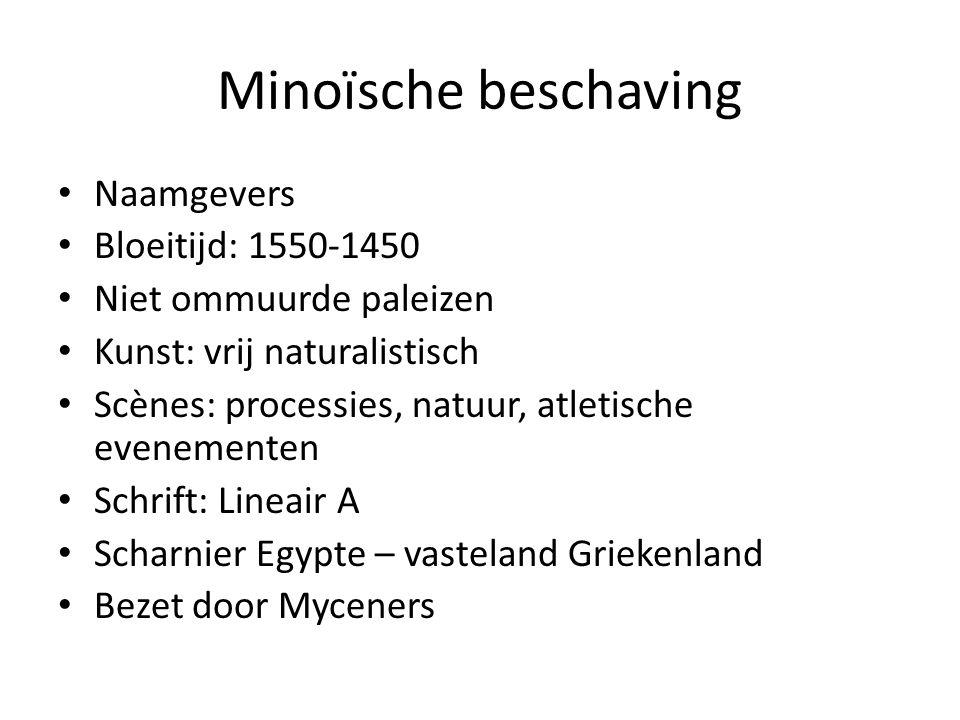 Minoïsche beschaving Naamgevers Bloeitijd: 1550-1450