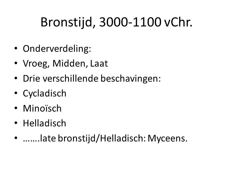 Bronstijd, 3000-1100 vChr. Onderverdeling: Vroeg, Midden, Laat