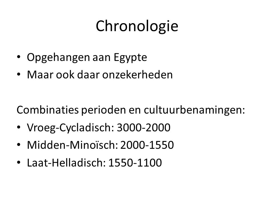 Chronologie Opgehangen aan Egypte Maar ook daar onzekerheden
