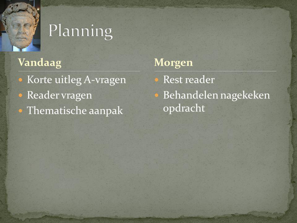 Planning Vandaag Morgen Korte uitleg A-vragen Reader vragen